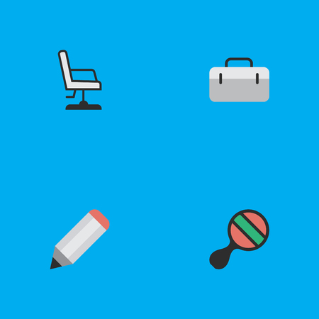 Vector Illustration Set Of Simple Education Icons. Elements Racket, Briefcase, Pen And Other Synonyms Seat, Suitcase And Pong.