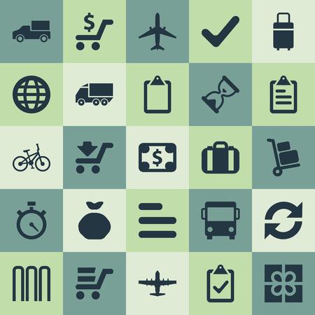 Vector illustratie Set van eenvoudige distributie iconen. Elementen compleet, trolley, klembord en andere synoniemen Road, Bicycle and Questionnaire. Stock Illustratie