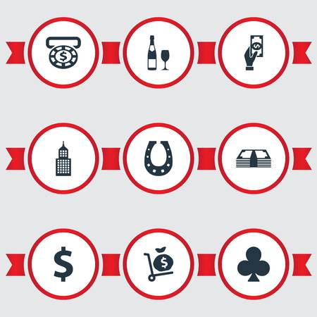 Vector Illustration Set Of Simple  Icons. Elements Pay, Casino, Currency And Other Synonyms Champagne, Exchange And Pay.