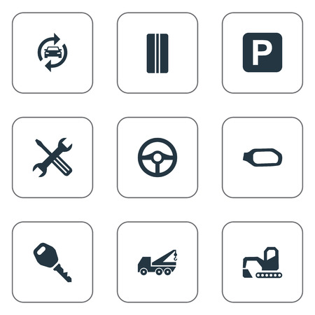 Vector Illustration Set Of Simple Automobile Icons. Elements Side Mirror, Hoisting Machine, Wheel And Other Synonyms Lock, Tools And Tire.