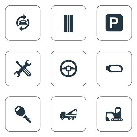 Vektor-Illustration Satz von einfachen Automobil-Icons. Elements Side Mirror, Hebemaschine, Rad und andere Synonyme Lock, Tools und Reifen. Standard-Bild - 82926633