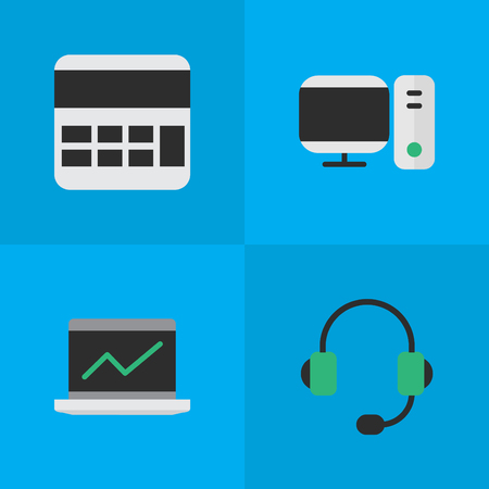 Vector Illustration Set Of Simple Gadget Icons. Elements Notebook, PC, Microphone And Other Synonyms PC, Screen And Monitor. Illustration