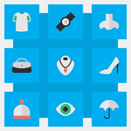 벡터 일러스트 레이 션 간단한 악기 아이콘의 집합입니다. 요소 핸드백, 보석, 파라솔 동의어 여자, 냄새와 파라솔.
