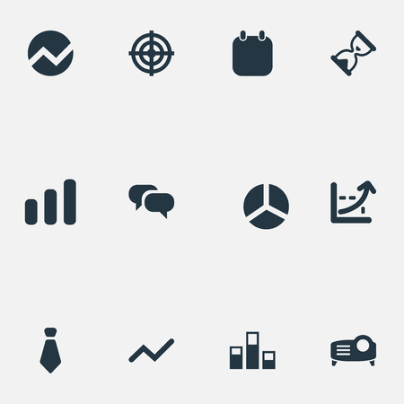 Vector Illustration Set Of Simple Presentation Icons. Elements Conversation, Segment, Goal And Other Synonyms Aim, Calendar And Economics. 向量圖像