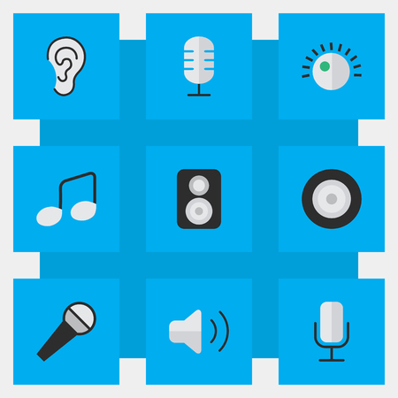 Vector Illustration Set Of Simple  Icons. Elements Music Sign, Microphone, Loudness And Other Synonyms Mike, Loudspeakers And Sign. Ilustrace