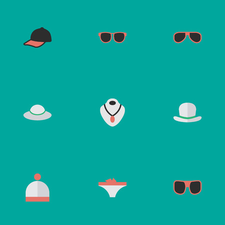 Vector Illustration Set Of Simple Instrument Icons. Elements Jewelry, Sunglasses, Glasses And Other Synonyms Necklace, Underwear And Jewelry.