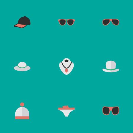 Vektor-Illustrations-Satz einfache Instrument-Ikonen. Elements Schmuck, Sonnenbrillen, Brillen und andere Synonyme, Unterwäsche und Schmuck. Standard-Bild - 82943843