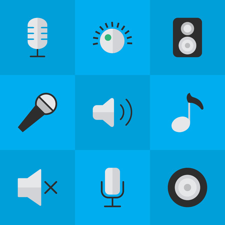 Vector Illustration Set Of Simple Music Icons. Elements Record, Regulator, Loudspeaker And Other Synonyms Sign, Record And Speaker.