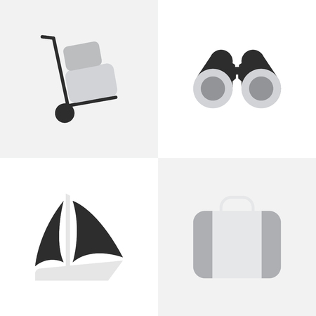Vector Illustration Set Of Simple Vacation Icons. Elements Schooner, Cargo, Optical Zoom And Other Synonyms Suitcase, Truck And Cargo.