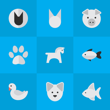 Vectorillustratiereeks Eenvoudige Faunapictogrammen. Elements-baars, Zwaan, Piggy en Andere Synoniemen Varken, Zwaan en Zoet. Stock Illustratie