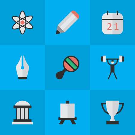 Vector Illustration Set Of Simple Education Icons. Elements Bodybuilding, Goblet, Molecule And Other Synonyms Championship, Molecule And Atom.