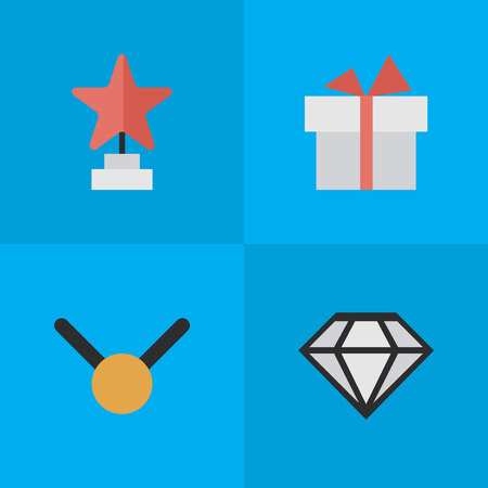 Vector Illustration Set Of Simple Achievement Icons. Elements Present, Star, Diamond And Other Synonyms Medal, Gift And Brilliant.