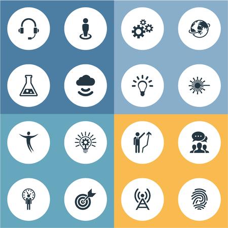 Conjunto de ilustração vetorial de ícones criativos simples. Bulbo dos elementos, conexão, liberdade e a outra impressão digital, auriculares e tecnologia dos sinónimos. Foto de archivo - 82923819