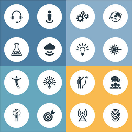 Vector Illustration Set Of Simple Creative Icons. Elements Bulb, Connection, Freedom And Other Synonyms Fingerprint, Headset And Technology. Çizim