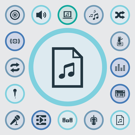 Vector Illustration Set Of Simple  Icons. Elements Compact Disk, Loudspeaker, Again And Other Synonyms Studio, Controller And Shuffle. Illusztráció