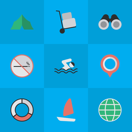 Vector Illustration Set Of Simple Holiday Icons. Elements Boat, Pool, Optical Zoom And Other Synonyms Ship, Pool And World.
