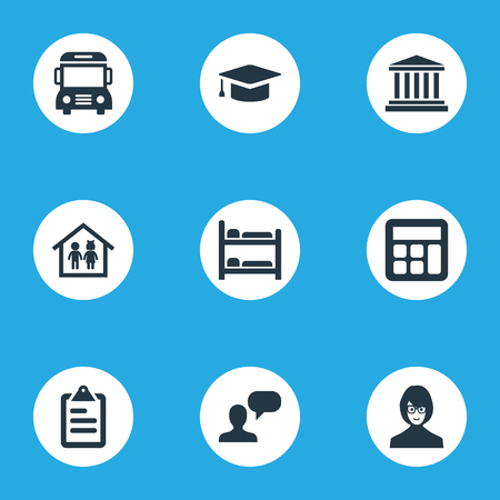 Vector Illustration Set Of Simple School Icons. Elements Courthouse, Preschool Building, Speech And Other Synonyms Tutor, Test And Degree. Illustration