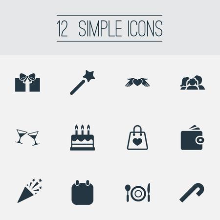単純な休日のアイコンのベクトル イラスト セット。要素のギフト、夕食、杖類義語カレンダー、日付と杖。