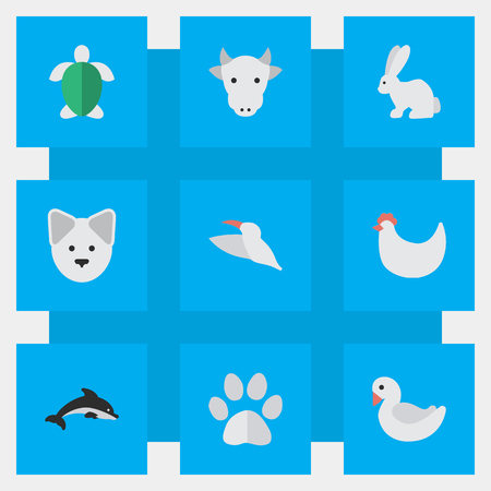 Vector Illustration Set Of Simple Animals Icons. Elements Fish, Cock, Kine And Other Synonyms Dog, Footprint And Dolphin. Illustration