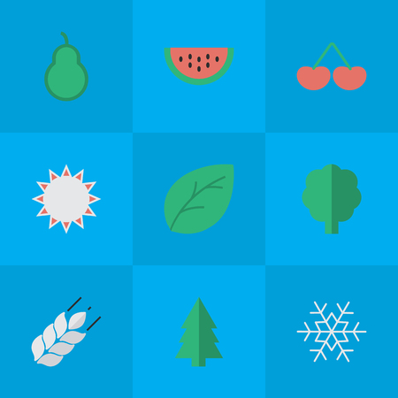 Vector Illustration Set Of Simple Gardening Icons. Elements Sheet, Berry, Punching Bag And Other Synonyms Sunny, Tree And Wheat.