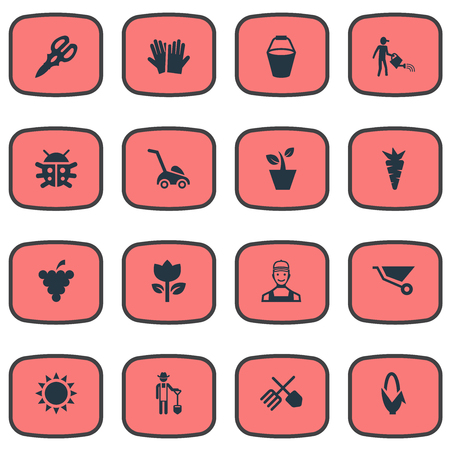 Vector Illustration Set Of Simple Horticulture Icons. Elements Maize, Farmer, Horticultural Gauntlet And Other Synonyms Flower, Summer And Fruit. Illustration