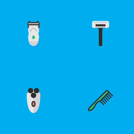 Vector Illustration Set Of Simple Hairdresser Icons. Elements Hairbrush, Shaving Machine, Electronic And Other Synonyms Slavering, Shaving And Electronic.