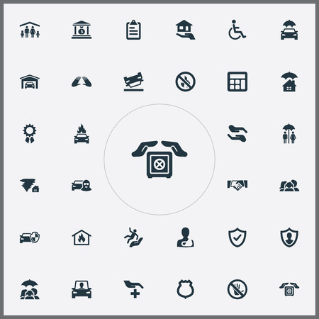Vector Illustration Set Of Simple Warrant Icons. Elements Handicapped, Care, Medical Attendance Synonyms Accidence, Forbidden And Sheriff.
