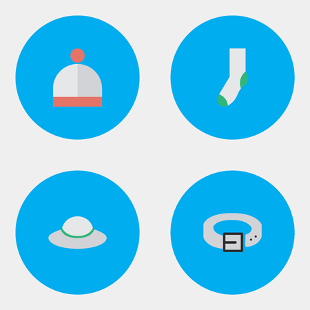Vector Illustration Set Of Simple Equipment Icons. Elements Strap, Sock, Wool Wear And Other Synonyms Wear, Warm And Woman.