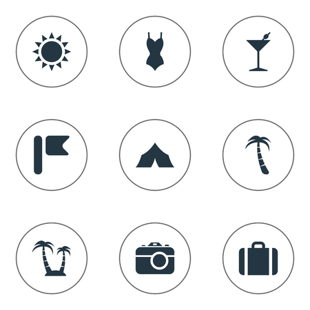 Vector Illustration Set Of Simple Seaside Icons. Elements Sun, Palm, Suitcase And Other Synonyms Island, Banner And Shelter.