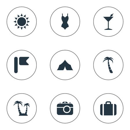 Vectorillustratiereeks Eenvoudige Kustpictogrammen. Elementen zon, palm, koffer en ander synoniemeneiland, banner en schuilplaats. Stock Illustratie