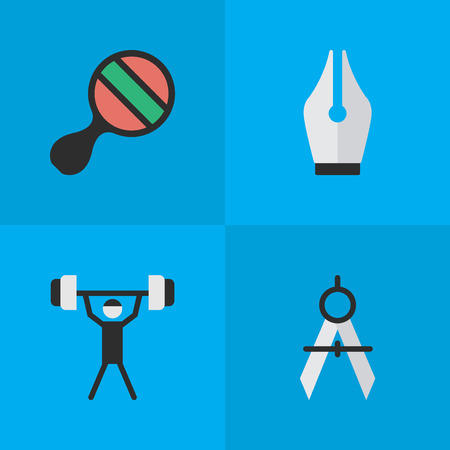 Vector Illustration Set Of Simple Education Icons. Elements Nib, Measurement Dividers, Racket And Other Synonyms Dividers, Nib And Ping. Çizim