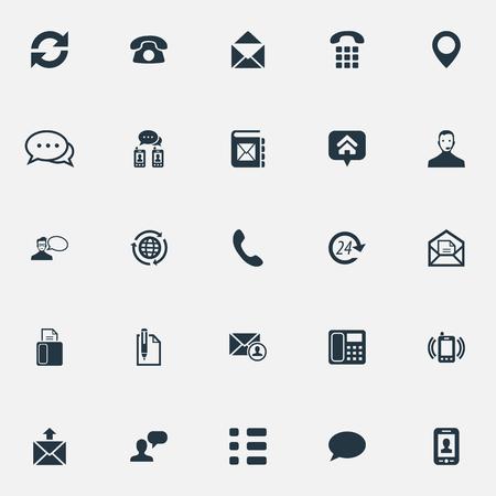 Vector Illustration Set de simples icônes de connexion. Éléments parlent, nuage de discours, marque de maison et d'autres technologies de synonymes, sonnerie et téléphone. Vecteurs