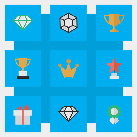 Vector Illustration Set Of Simple Awards Icons. Elements Reward, Star, Other Synonyms Reward, Cub And Award.