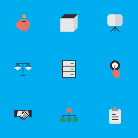 Vector Illustration Set Of Simple Business Icons. Elements Square, Agreement, Easel And Other Synonyms Balance, Graph And Finger. Illustration