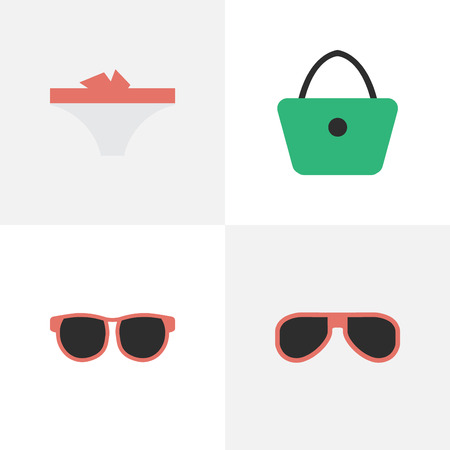 Vector Illustration Set Of Simple Accessories Icons. Elements Sunglasses, Lingerie, Woman Bag And Other Synonyms Handbag, Woman And Sunglasses.