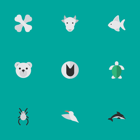 Vector Illustration Set Of Simple Animals Icons. Elements Skeleton, Turtle, Tomcat And Other Synonyms Cow, Bird And Panda.