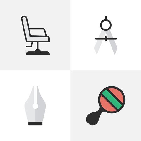 簡単な教育アイコンのベクター イラスト セット。要素のペン先、アームチェア、測定の仕切り、他の同義語の測定ピンポンと ping を実行します。  イラスト・ベクター素材