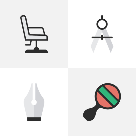 Vector Illustration Set Of Simple Education Icons. Elements Nib, Armchair, Measurement Dividers And Other Synonyms Measurement, Pong And Ping.