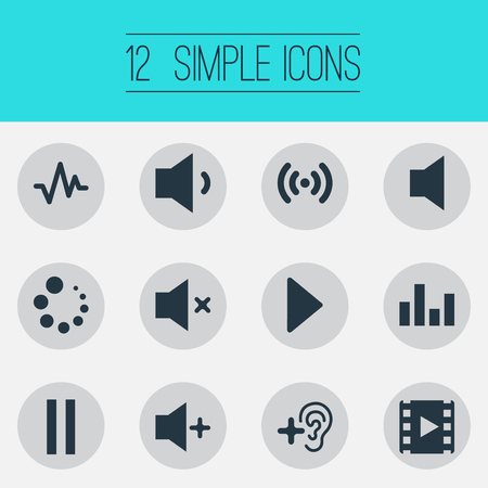 Vector Illustration Set Of Simple Audio Icons. Elements Player, Upload, Wave And Other Synonyms Mute, Loading And Loudspeaker.