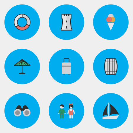 Vector Illustration Set Of Simple Holiday Icons. Elements Schooner, Sorbet, Optical Zoom And Other Synonyms Vision, Ice And Parasol. Ilustrace
