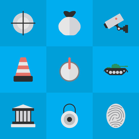 Vector Illustration Set Of Simple Criminal Icons. Elements Grille, Isolated, Safe And Other Synonyms Key, Lock And Goal.