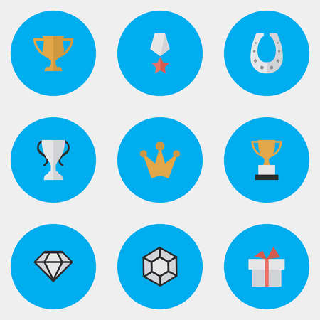 Vector Illustration Set Of Simple Trophy Icons. Elements Brilliant, Metal, Corona And Other Synonyms Present, Gift And Coronet.