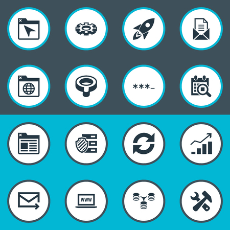 Vector Illustration Set Of Simple Review Icons. Elements Database Distribution, Search, Clipboard And Other Synonyms Mail, Bind And Password. Иллюстрация