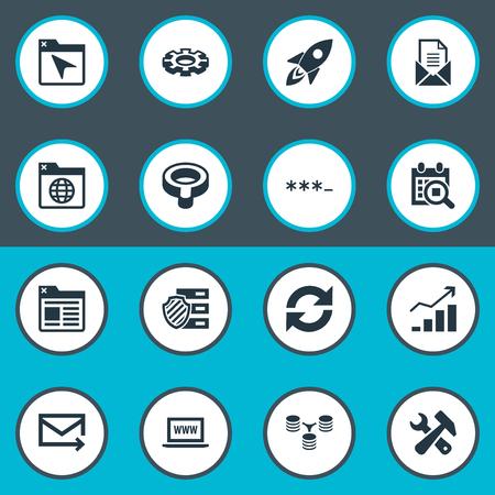 Vektor-Illustrations-Satz einfache Übersichts-Ikonen. Elemente Datenbankverteilung, Suche, Zwischenablage und andere Synonyme Mail, Bind und Passwort. Standard-Bild - 82943930