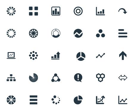 Illustration vectorielle Ensemble d'icônes graphiques simples. Menu Éléments, cible, motif et autres syndromes, diminution, plan et composant. Banque d'images - 82943931