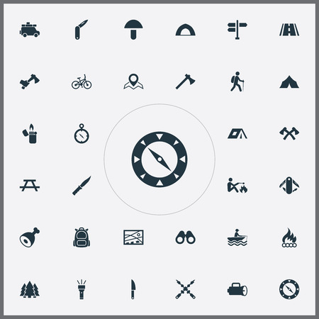 Vector Illustration Set Of Simple Camp Icons. Elements Champignon, Lantern, Bicycle And Other Synonyms Multipurpose, Leg And Measurement. Illusztráció