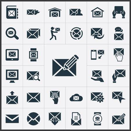 Vector illustratie Set van eenvoudige bericht iconen. Elementen make-up, zoeken, duwen en andere synoniemen omhullen, muis en perceel.
