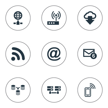 Vector Illustration Set Of Simple Web Icons. Elements Mobile Contact, Inbox, Router And Other Synonyms Mobile, Spreading And Sharing.