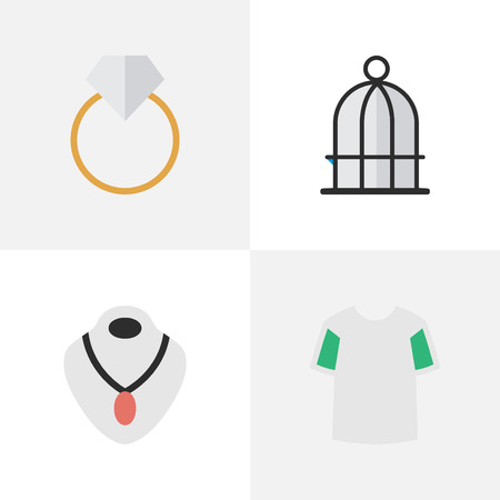 Vector Illustration Set Of Simple Accessories Icons. Elements Engagement, Jersey, Jewelry And Other Synonyms Choker, Wear And Jewelry.