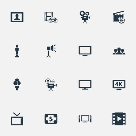 벡터 일러스트 레이 션 간단한 영화 아이콘의 집합입니다. 요소 가상 현실, 릴, 발표자 및 기타 동의어 카메라, LCD 및 디스플레이.